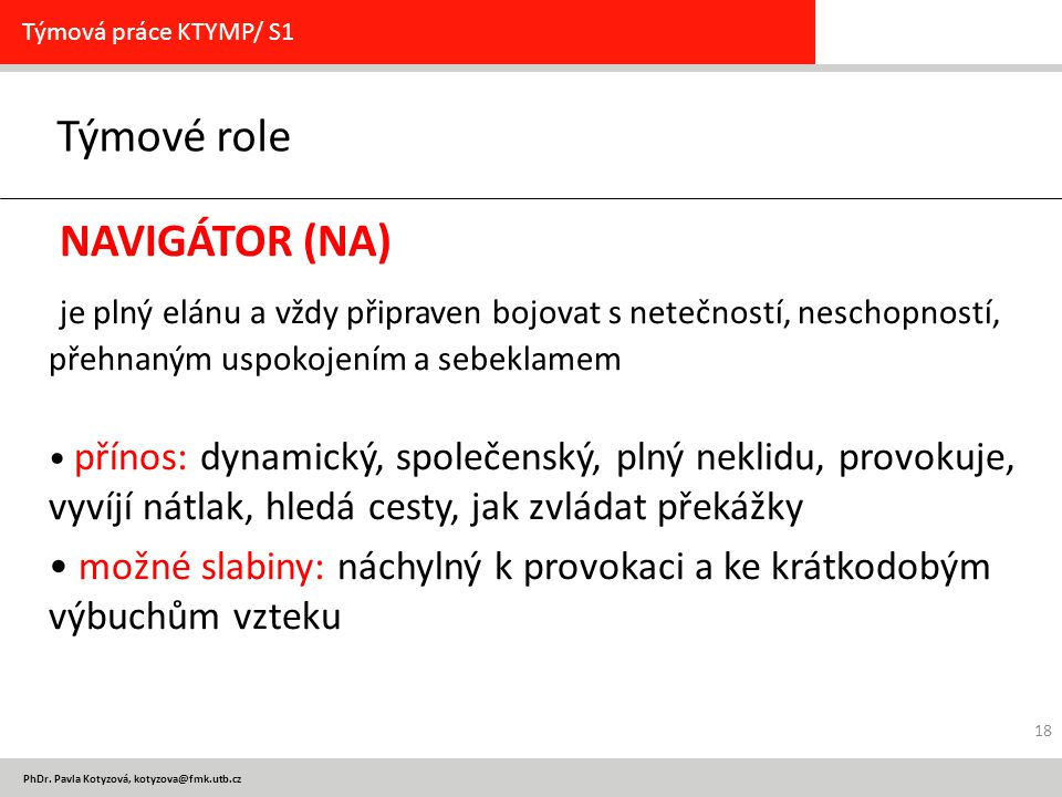 Týmové role NAVIGÁTOR (NA)