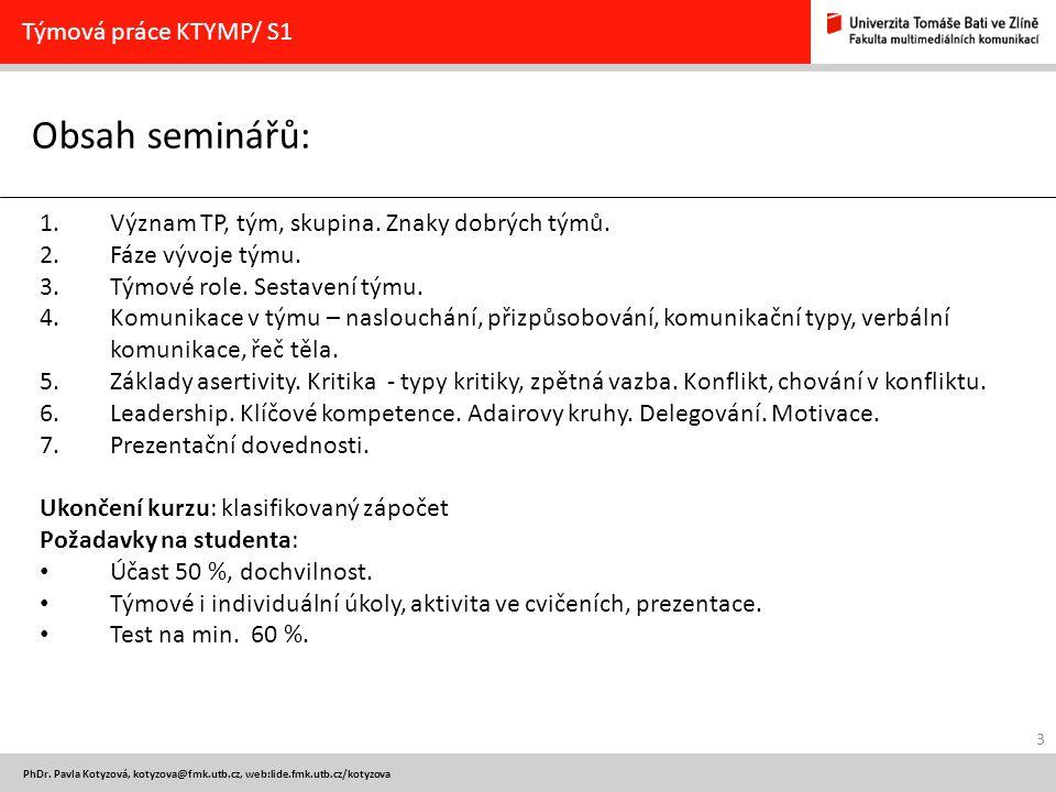 Obsah seminářů: Týmová práce KTYMP/ S1