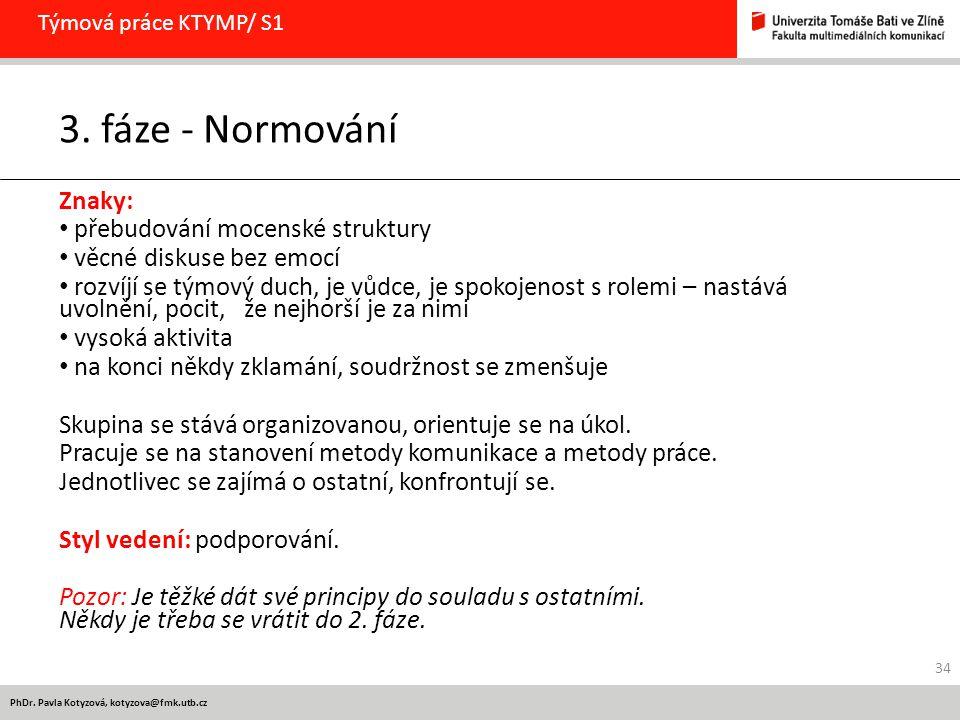 3. fáze - Normování Znaky: přebudování mocenské struktury