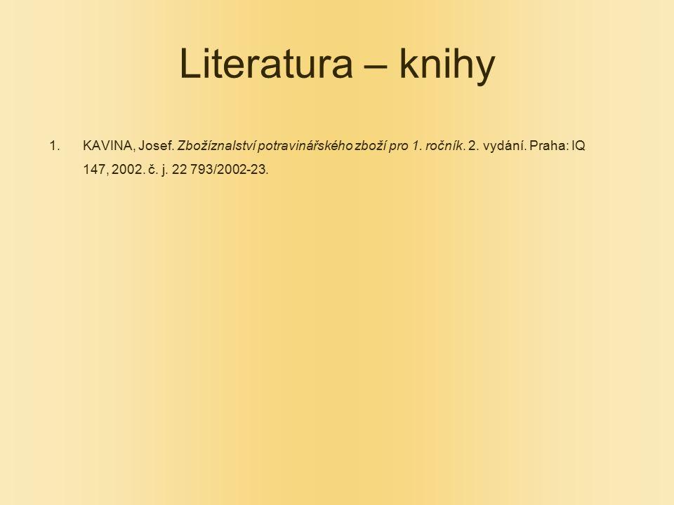 Literatura – knihy KAVINA, Josef. Zbožíznalství potravinářského zboží pro 1.