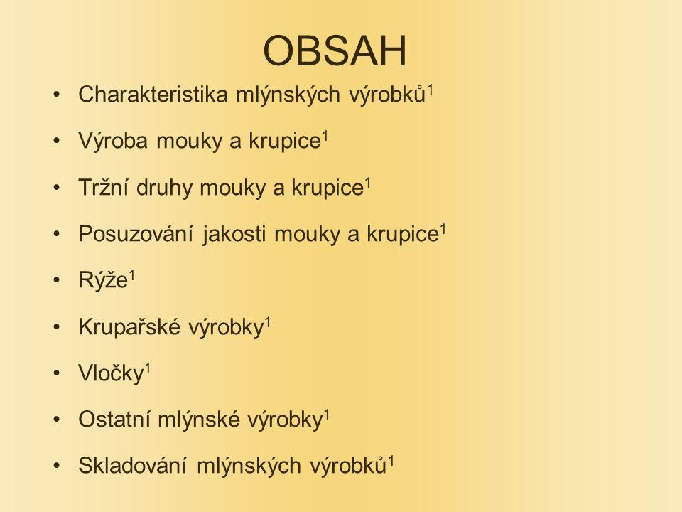 OBSAH Charakteristika mlýnských výrobků1 Výroba mouky a krupice1