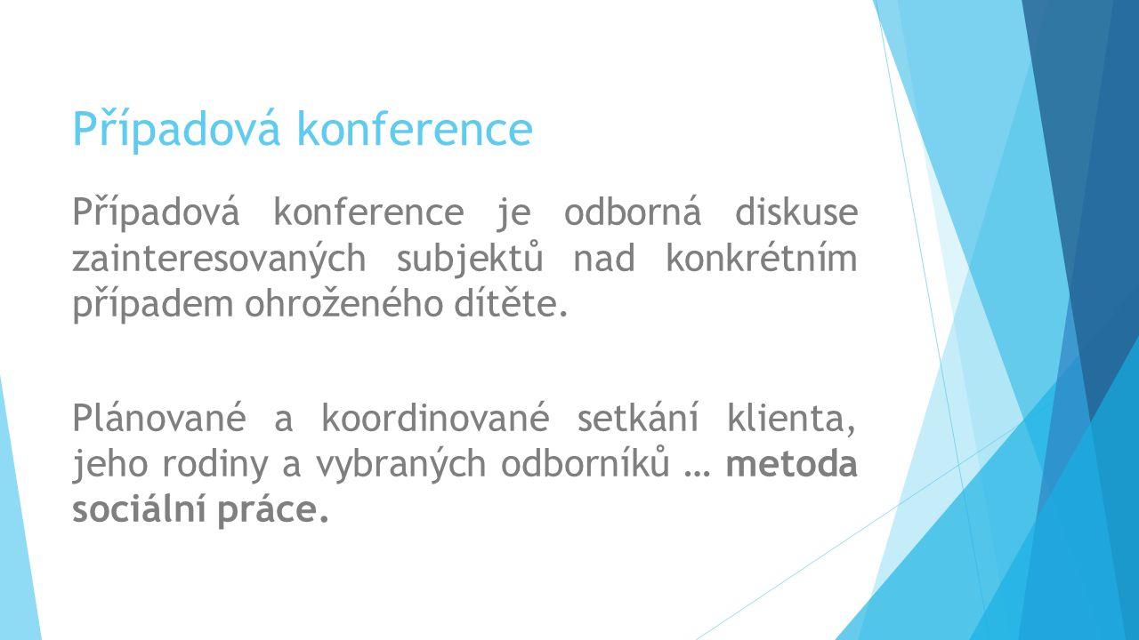 Případová konference Případová konference je odborná diskuse zainteresovaných subjektů nad konkrétním případem ohroženého dítěte.