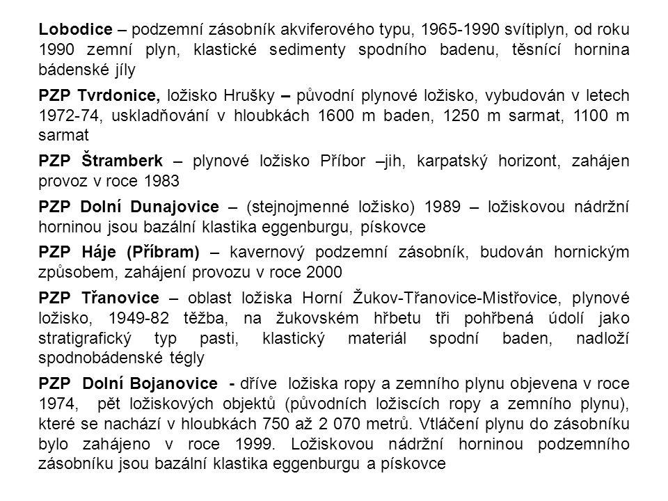 Lobodice – podzemní zásobník akviferového typu, 1965-1990 svítiplyn, od roku 1990 zemní plyn, klastické sedimenty spodního badenu, těsnící hornina bádenské jíly