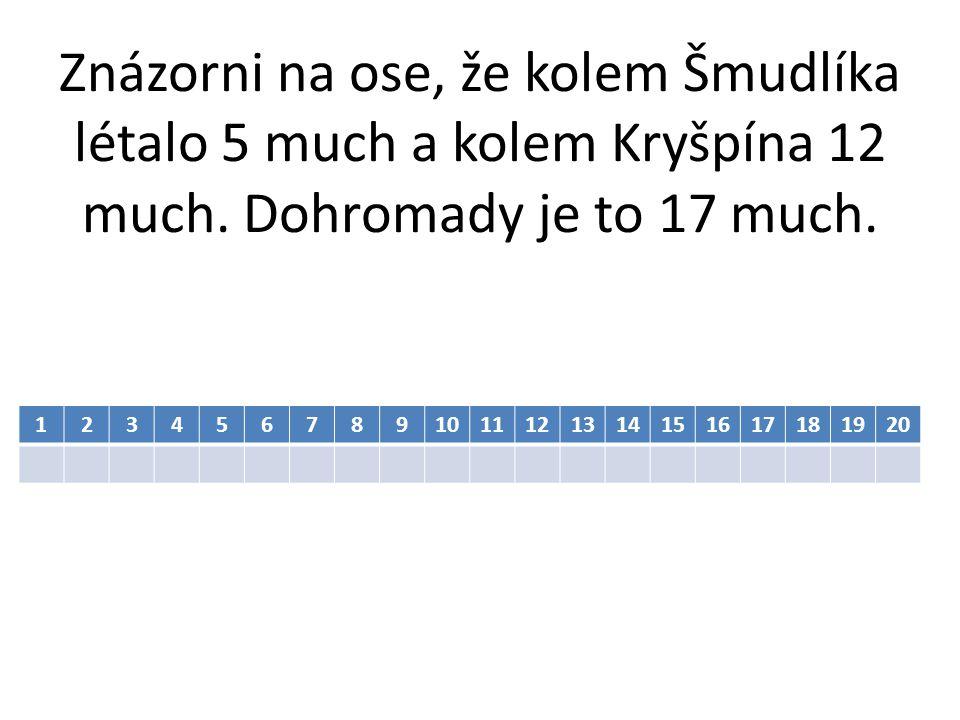 Znázorni na ose, že kolem Šmudlíka létalo 5 much a kolem Kryšpína 12 much. Dohromady je to 17 much.
