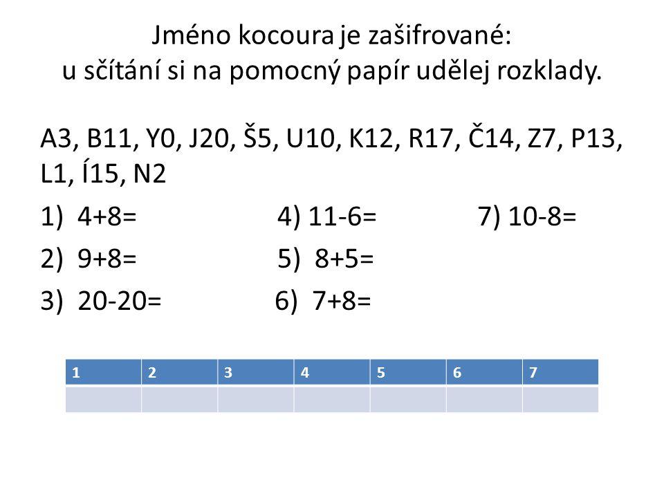Jméno kocoura je zašifrované: u sčítání si na pomocný papír udělej rozklady.