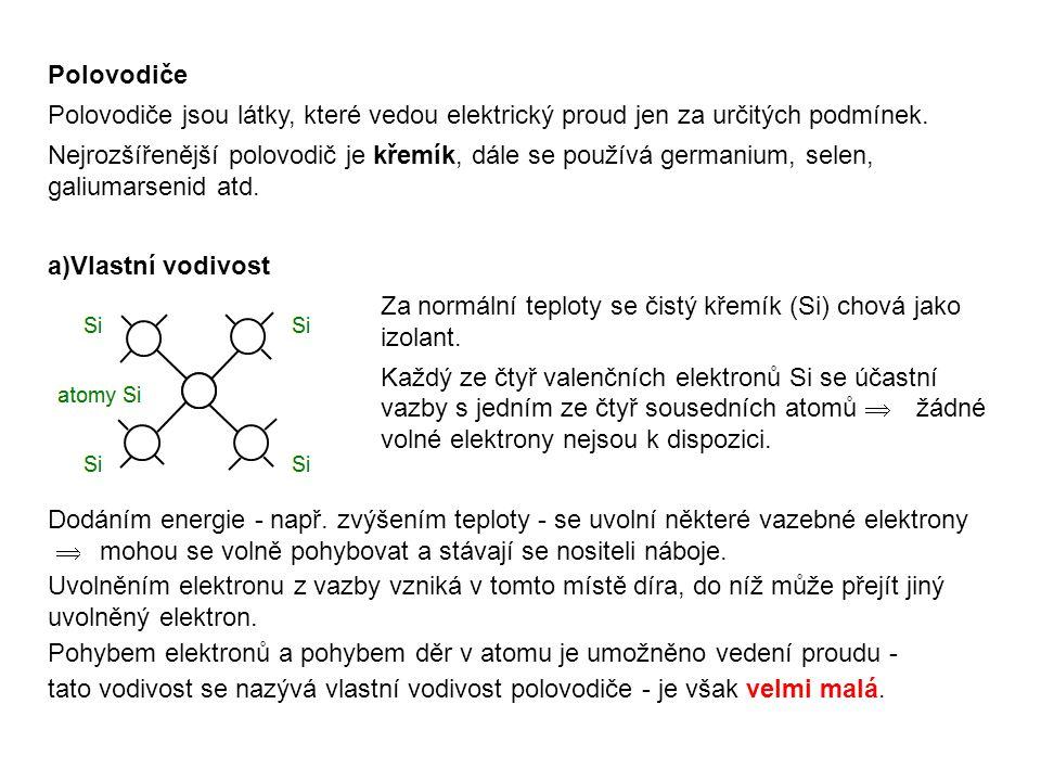 Polovodiče Polovodiče jsou látky, které vedou elektrický proud jen za určitých podmínek.