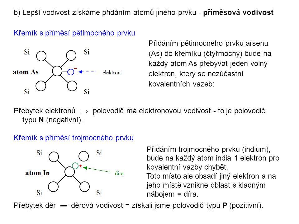 b) Lepší vodivost získáme přidáním atomů jiného prvku - příměsová vodivost