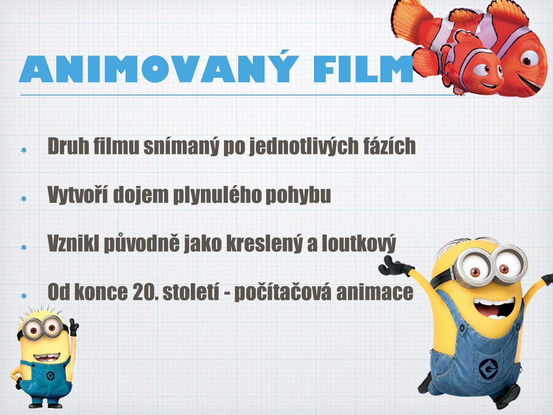 ANIMOVANÝ FILM Druh filmu snímaný po jednotlivých fázích