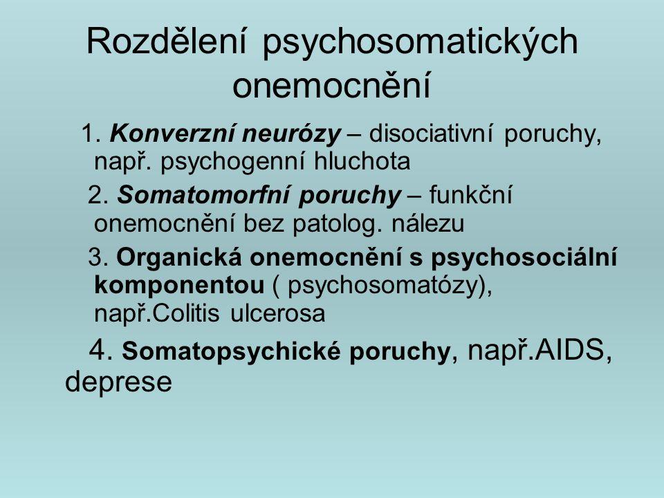 Rozdělení psychosomatických onemocnění