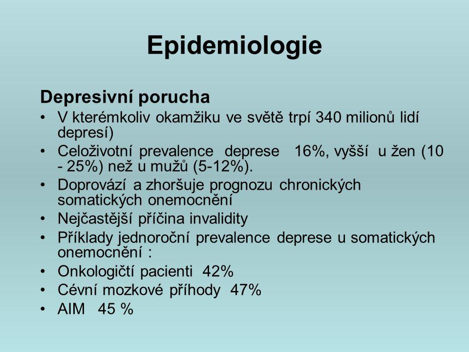 Epidemiologie Depresivní porucha