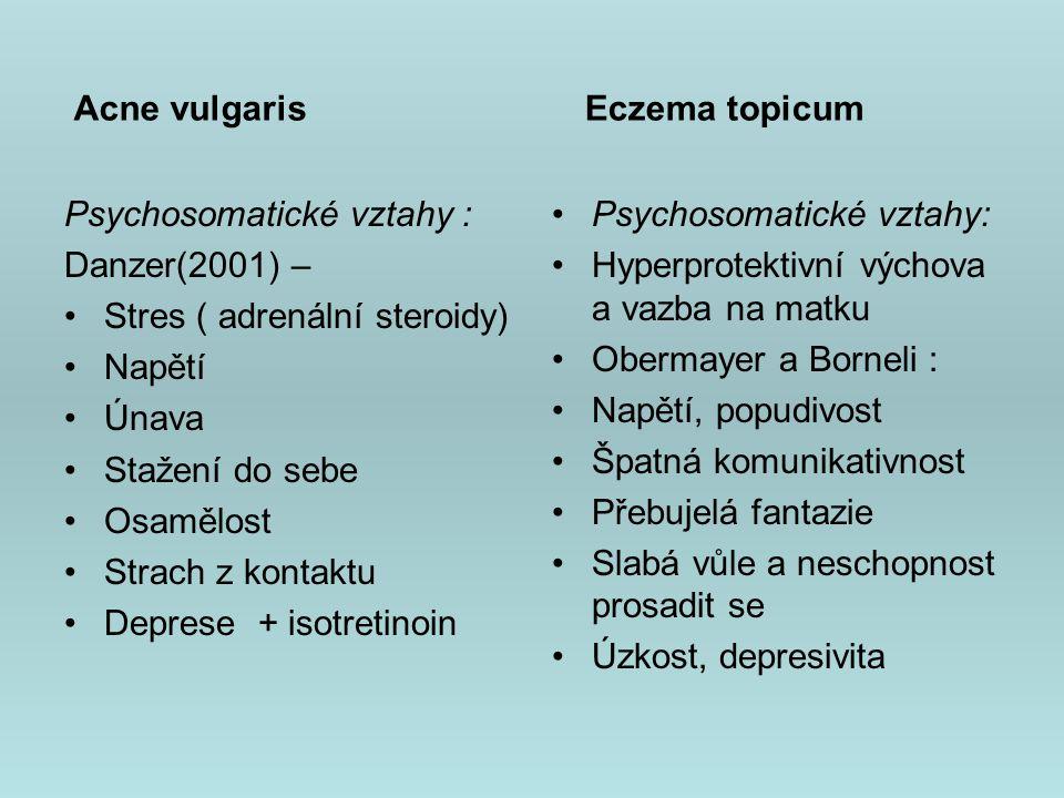 Acne vulgaris Eczema topicum. Psychosomatické vztahy : Danzer(2001) – Stres ( adrenální steroidy)