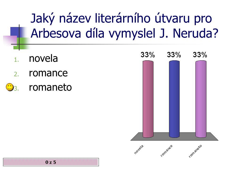 Jaký název literárního útvaru pro Arbesova díla vymyslel J. Neruda