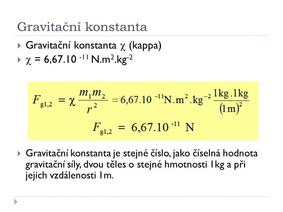 Gravitační konstanta Gravitační konstanta c (kappa)
