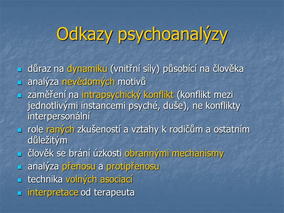 Odkazy psychoanalýzy důraz na dynamiku (vnitřní síly) působící na člověka. analýza nevědomých motivů.