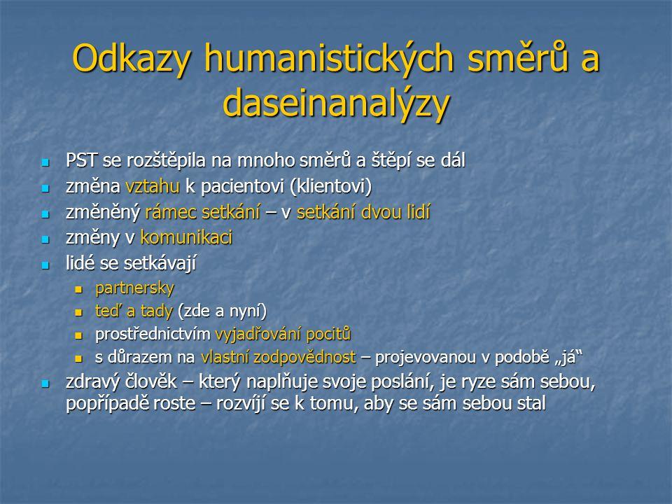 Odkazy humanistických směrů a daseinanalýzy