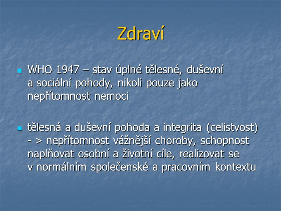 Zdraví WHO 1947 – stav úplné tělesné, duševní a sociální pohody, nikoli pouze jako nepřítomnost nemoci.