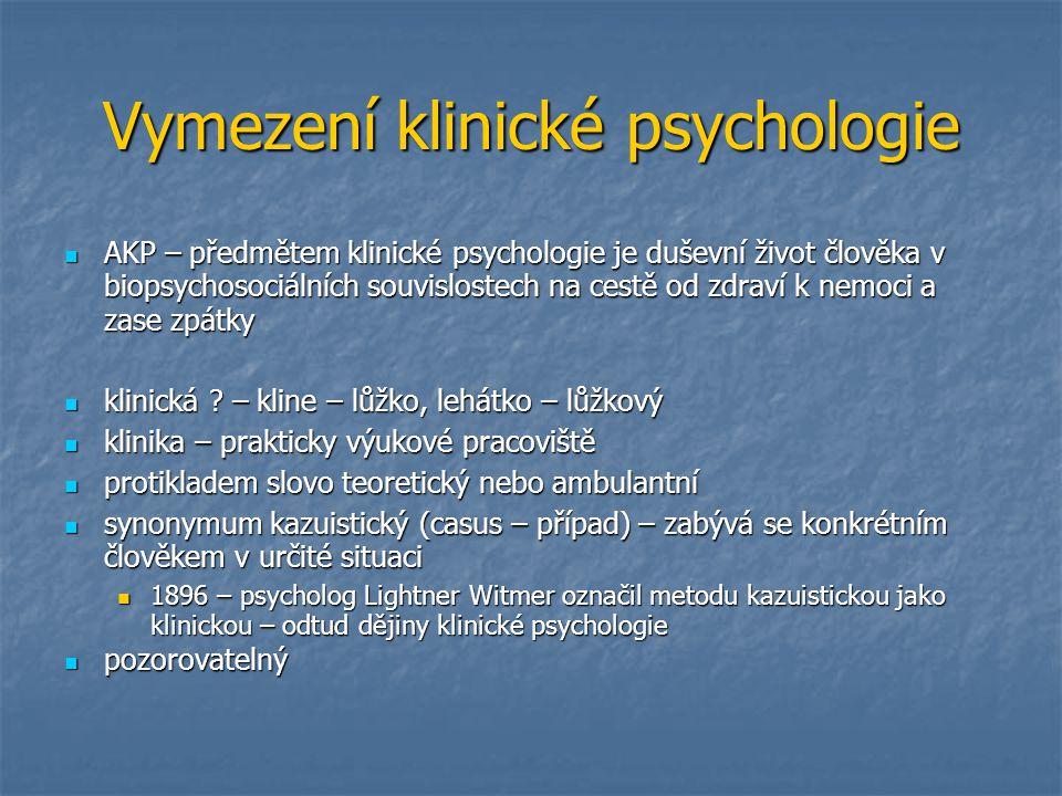 Vymezení klinické psychologie