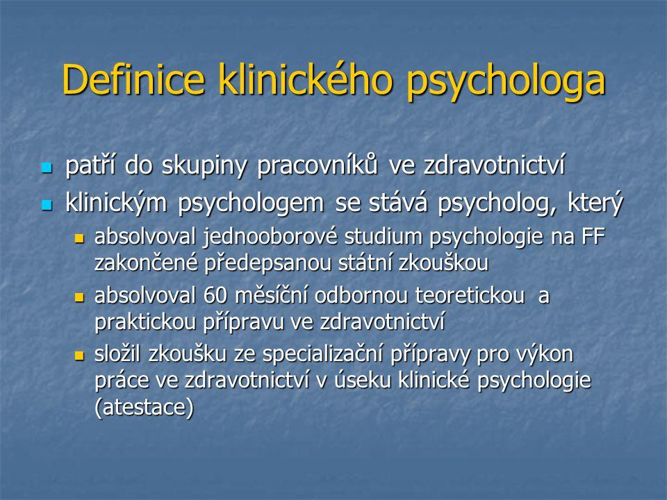 Definice klinického psychologa