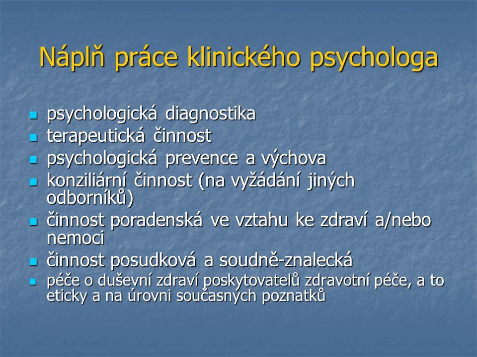 Náplň práce klinického psychologa