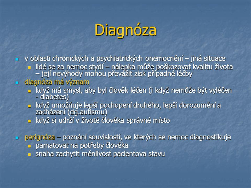 Diagnóza v oblasti chronických a psychiatrických onemocnění – jiná situace.