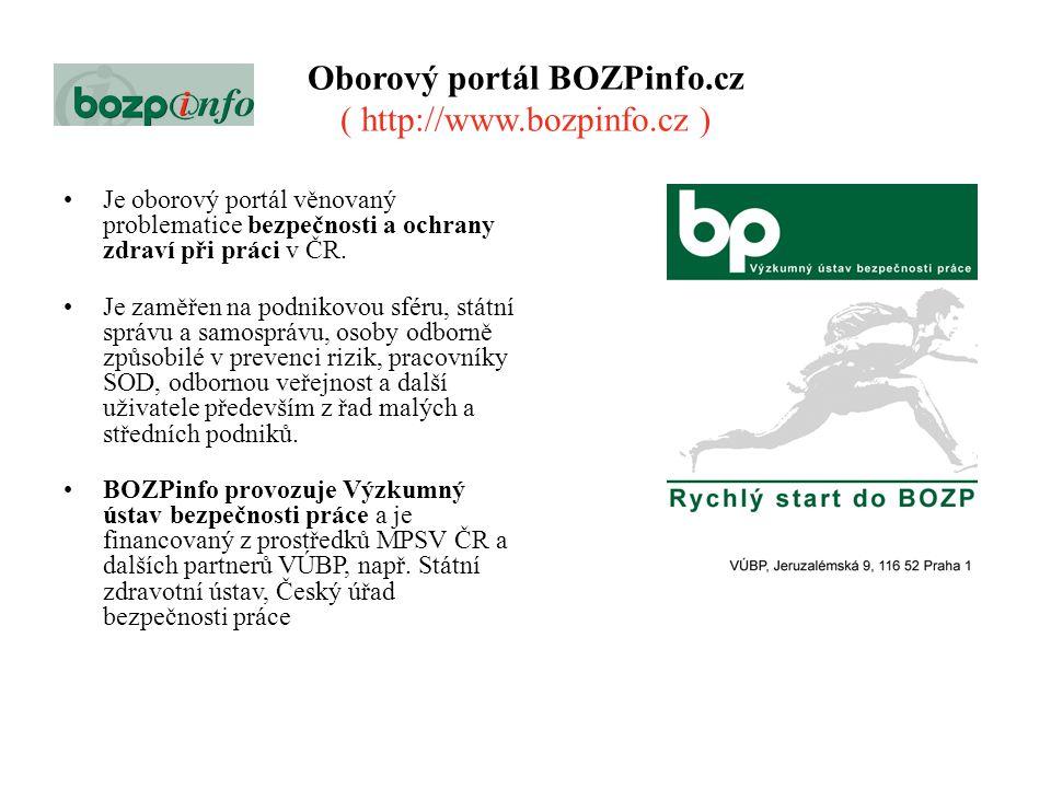 Oborový portál BOZPinfo.cz ( http://www.bozpinfo.cz )
