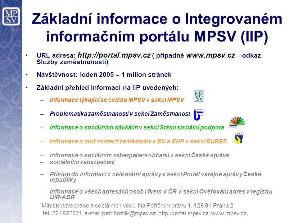 Základní informace o Integrovaném informačním portálu MPSV (IIP)