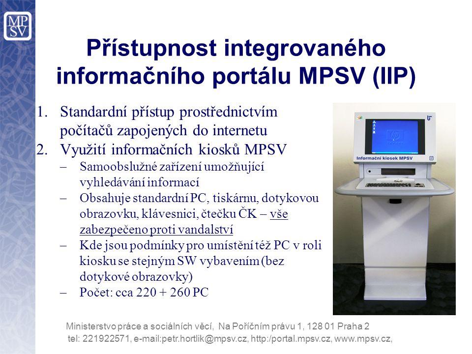 Přístupnost integrovaného informačního portálu MPSV (IIP)