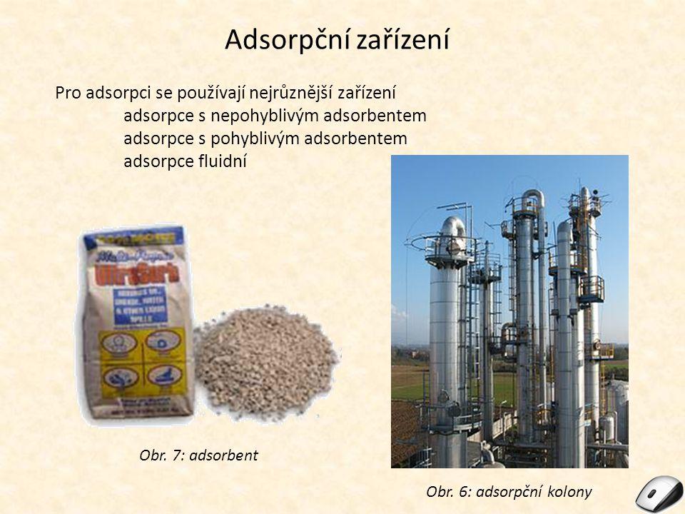 Adsorpční zařízení Pro adsorpci se používají nejrůznější zařízení