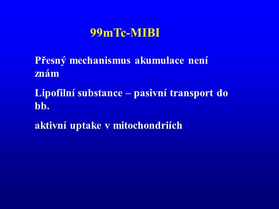 99mTc-MIBI Přesný mechanismus akumulace není znám
