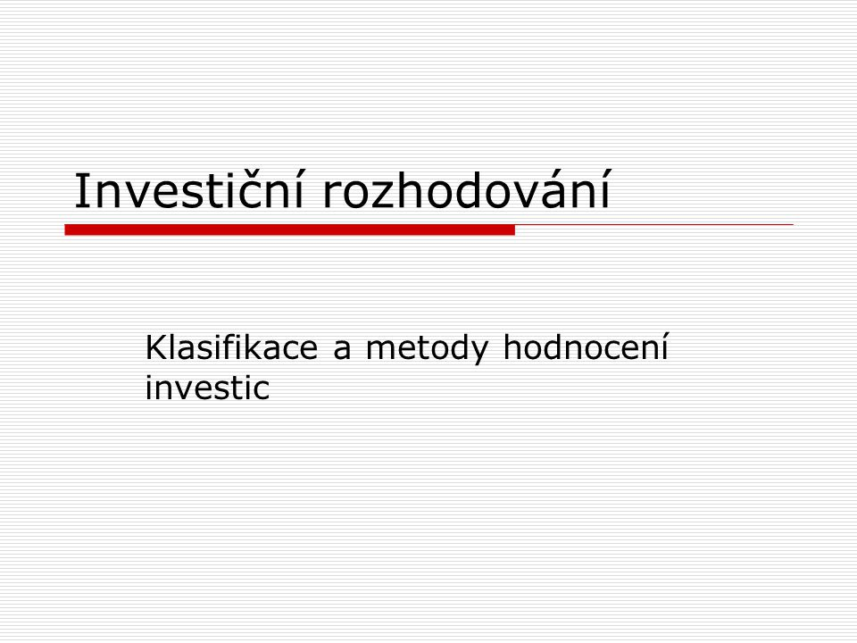 Investiční rozhodování
