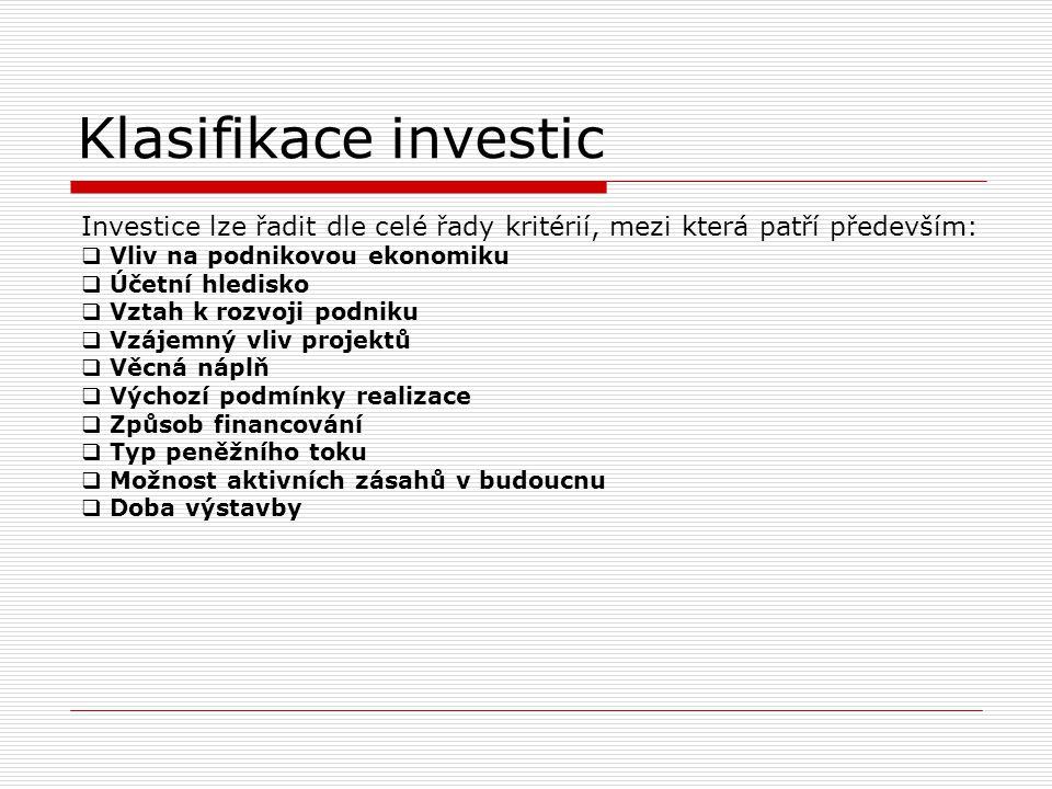 Klasifikace investic Investice lze řadit dle celé řady kritérií, mezi která patří především: Vliv na podnikovou ekonomiku.