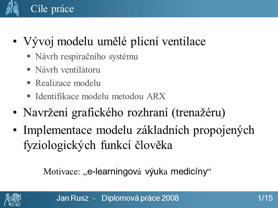 Vývoj modelu umělé plicní ventilace
