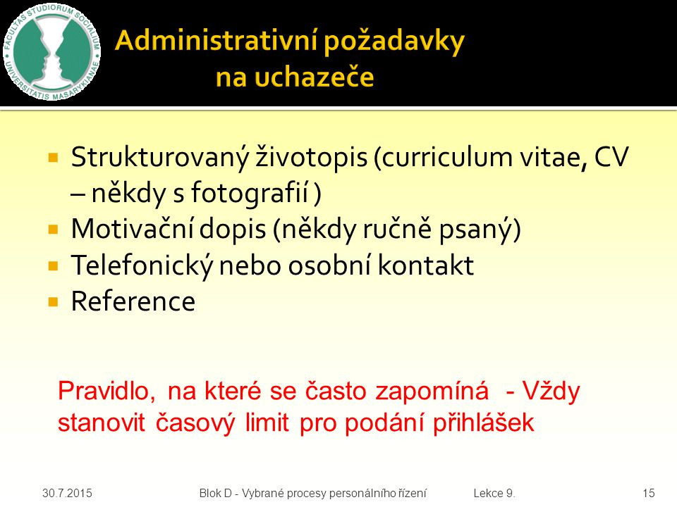 Administrativní požadavky na uchazeče