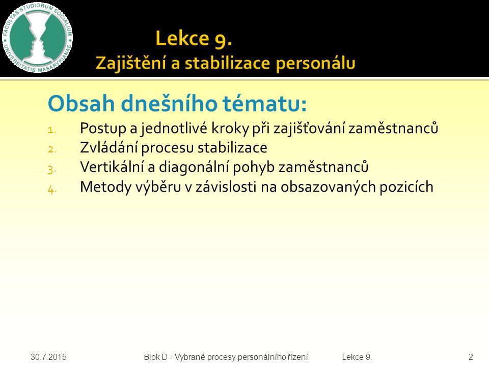 Lekce 9. Zajištění a stabilizace personálu