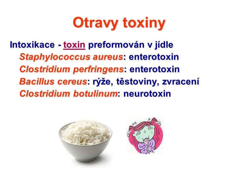 Otravy toxiny Intoxikace - toxin preformován v jídle