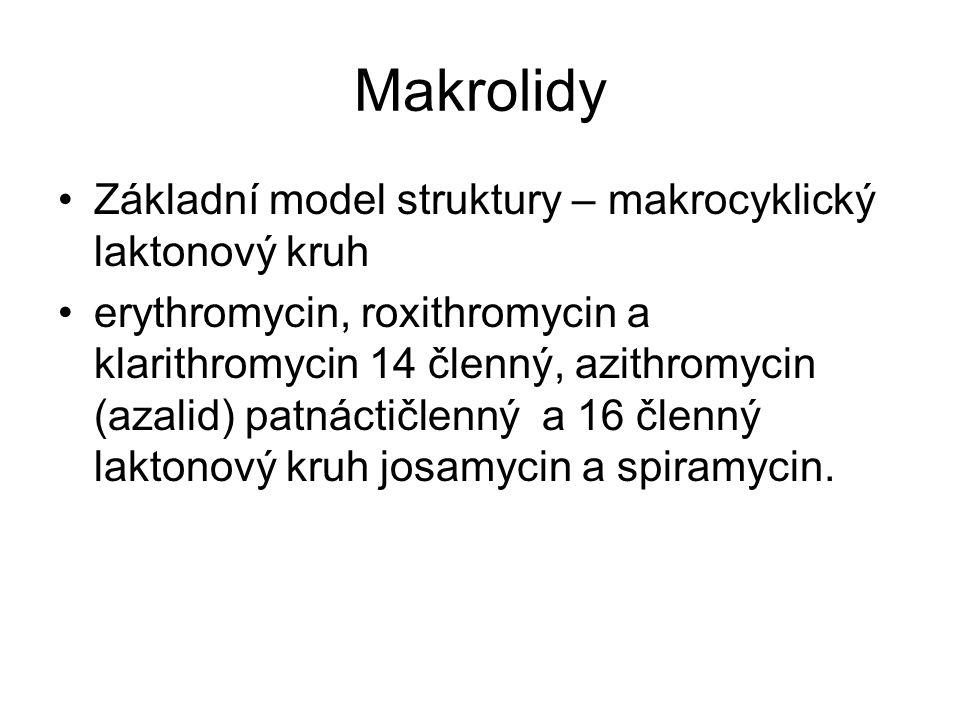 Makrolidy Základní model struktury – makrocyklický laktonový kruh