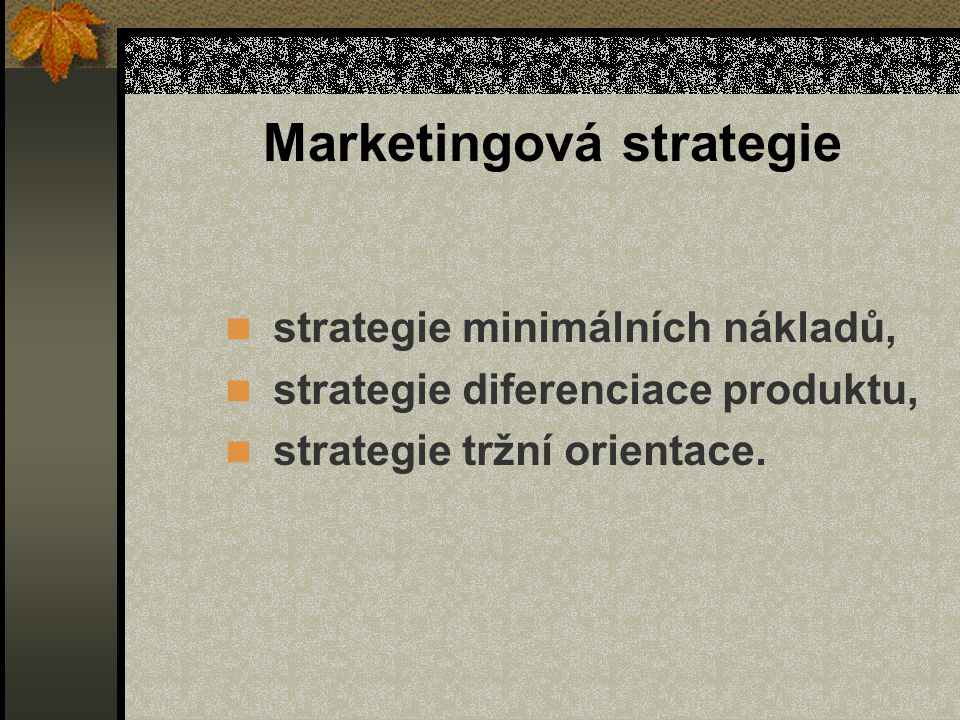 Marketingová strategie
