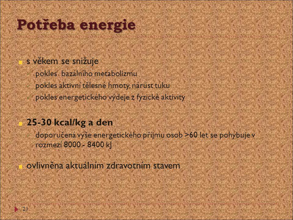 Potřeba energie s věkem se snižuje 25-30 kcal/kg a den