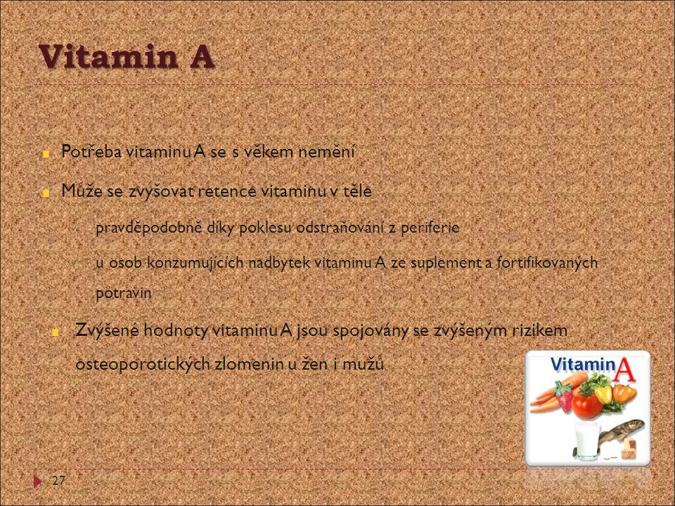 Vitamin A Potřeba vitaminu A se s věkem nemění