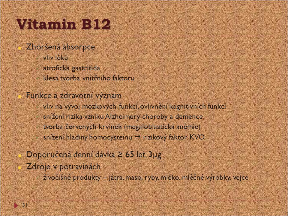Vitamin B12 Zhoršená absorpce Funkce a zdravotní význam