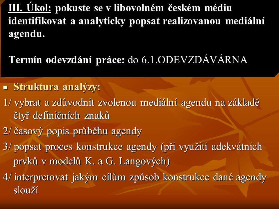 III. Úkol: pokuste se v libovolném českém médiu identifikovat a analyticky popsat realizovanou mediální agendu. Termín odevzdání práce: do 6.1.ODEVZDÁVÁRNA