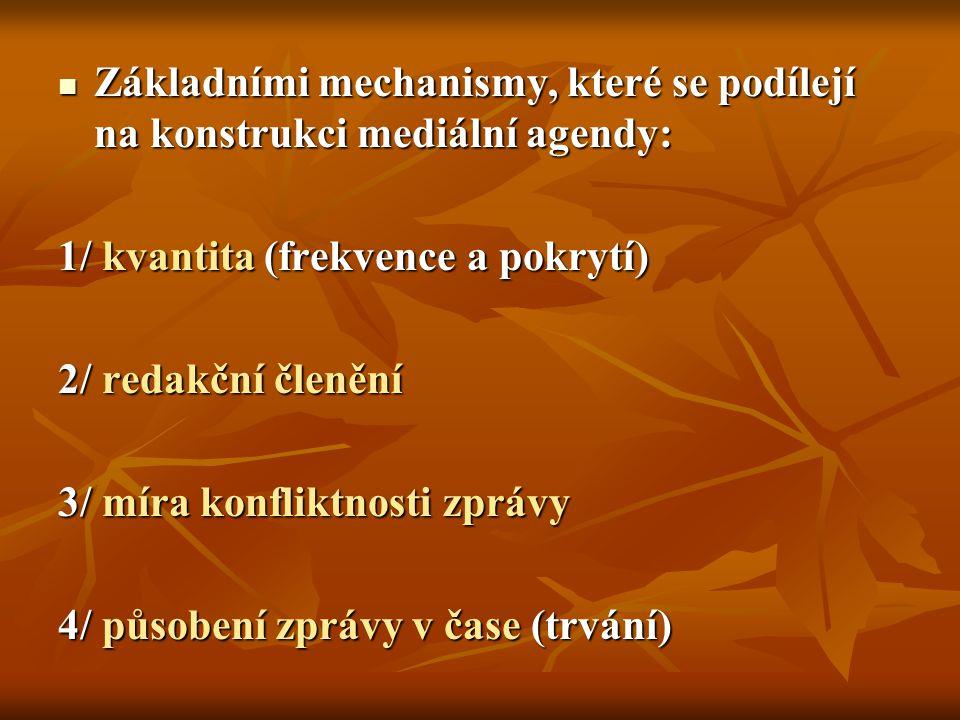 Základními mechanismy, které se podílejí na konstrukci mediální agendy: