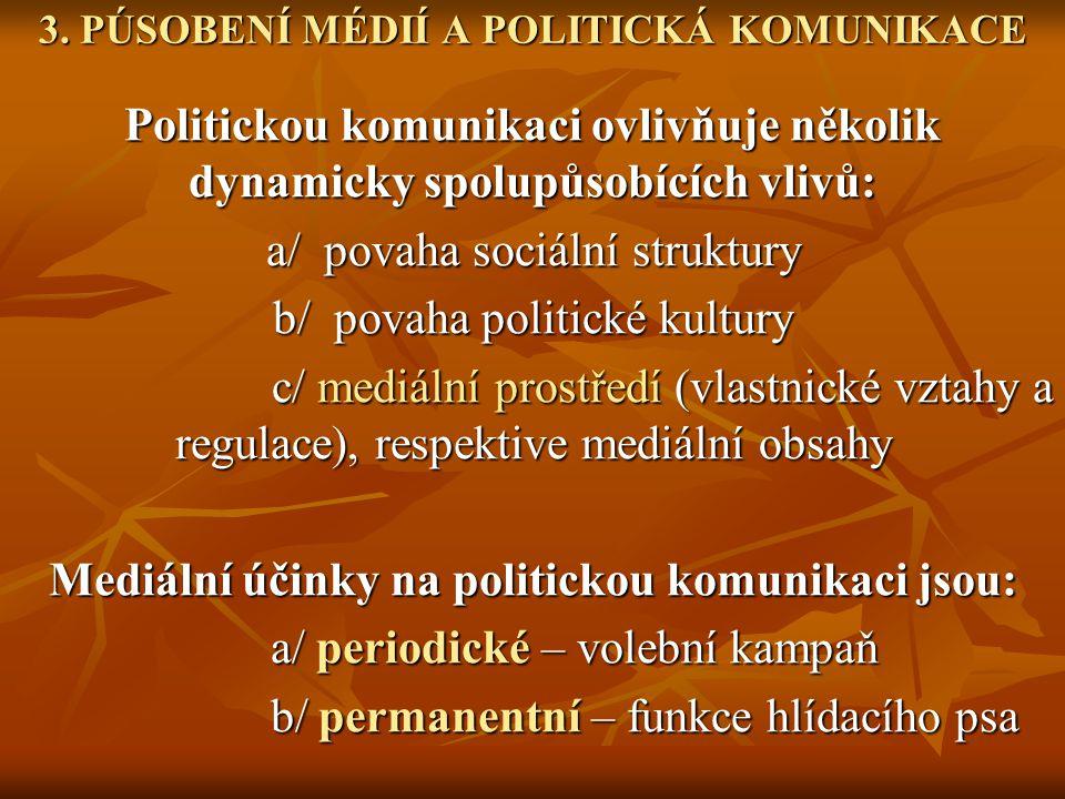 3. PÚSOBENÍ MÉDIÍ A POLITICKÁ KOMUNIKACE
