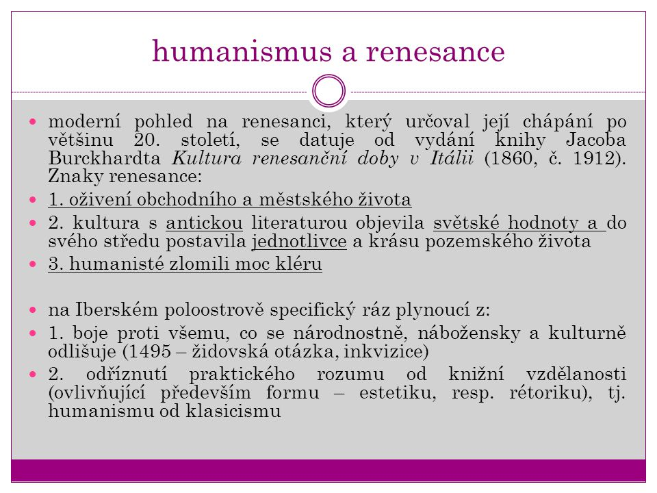 humanismus a renesance