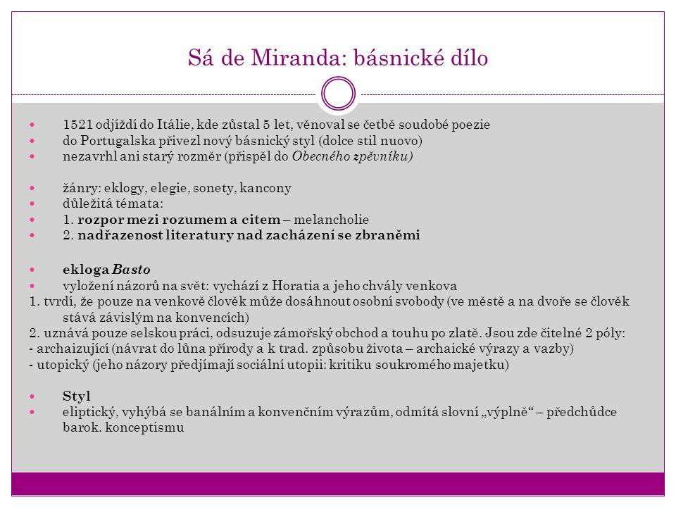 Sá de Miranda: básnické dílo