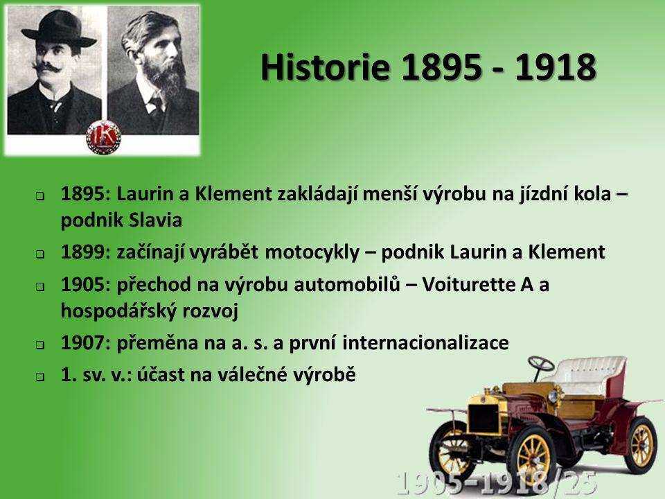 Historie 1895 - 1918 1895: Laurin a Klement zakládají menší výrobu na jízdní kola – podnik Slavia.