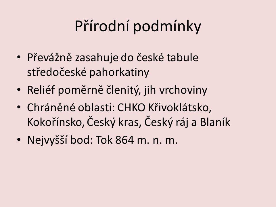 Přírodní podmínky Převážně zasahuje do české tabule středočeské pahorkatiny. Reliéf poměrně členitý, jih vrchoviny.