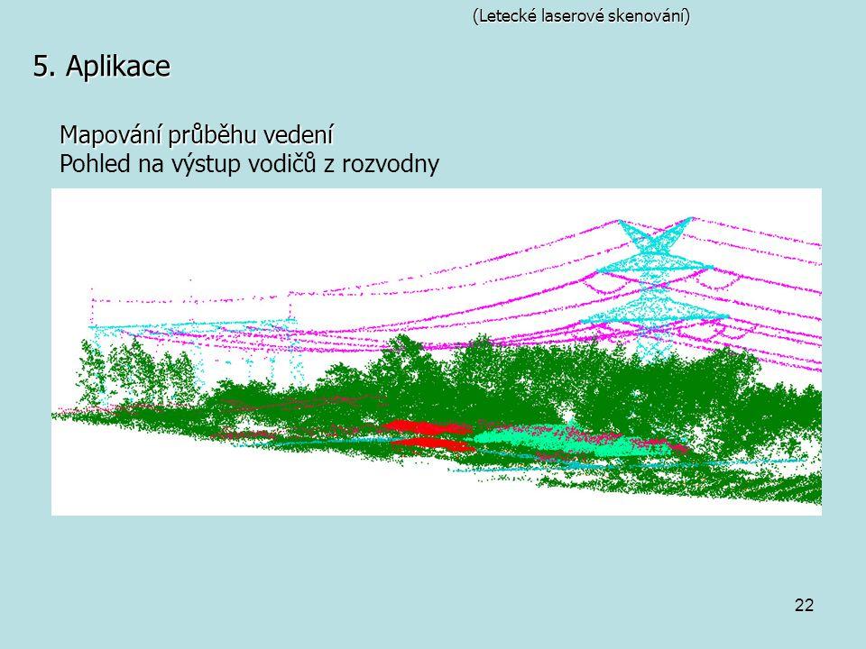 5. Aplikace Mapování průběhu vedení Pohled na výstup vodičů z rozvodny