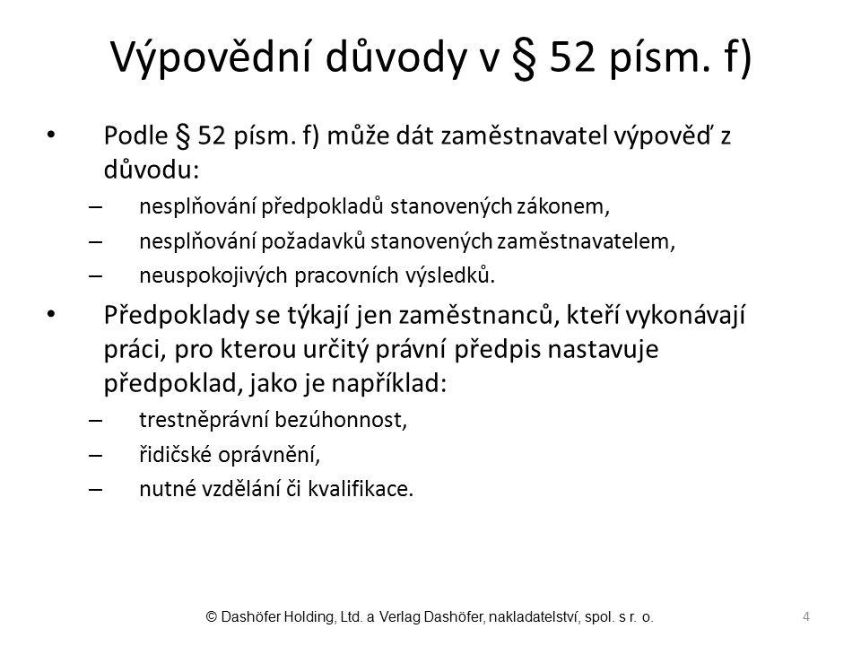 Výpovědní důvody v § 52 písm. f)