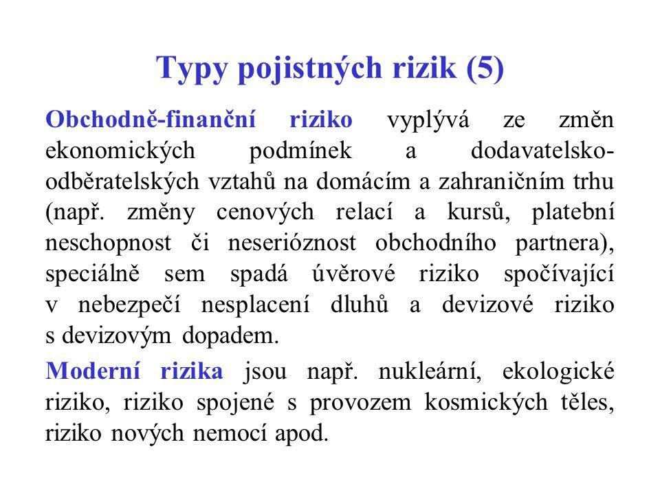 Typy pojistných rizik (5)